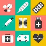 Plan stil, uppsättning för medicinillustrationsymboler Royaltyfria Foton