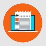 Plan stilsymbol av Emailmarknadsföringsbegreppet Arkivbild
