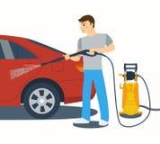 Plan stilvektorillustration av mannen som tvättar en bil Royaltyfri Illustrationer
