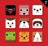 Plan stor djur uppsättning 7 (husdjuret) för vektor för tecknad film för framsidaapplikationsymbol Fotografering för Bildbyråer