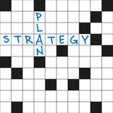 Plan and strategy. Crossword puzzle with words plan and strategy Stock Images