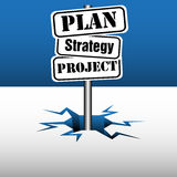 Plan strategy project signpost Stock Image