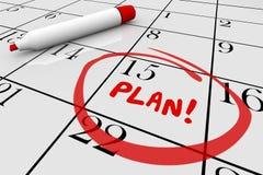 Plan Strategy Start Begin Mission Calendar Day Date. 3d Illustration stock illustration