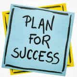 Plan for success motivational note. Plan for success motivational reminder - handwriting in black ink on an isolated sticky note royalty free stock images