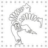 Plan svartvit linje akrobat för handteckningsclown royaltyfri illustrationer
