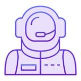 Plan symbol för astronautavatar Violetta symboler för astronaut i moderiktig plan stil Design för kosmonautlutningstil som planlä vektor illustrationer