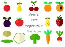 Plan symbol för för samlingsfrukt och grönsak royaltyfri illustrationer