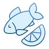 Plan symbol för fisk och för citron Blåa symboler för kokkonst i moderiktig plan stil Havs- lutningstildesign som planläggs för r vektor illustrationer