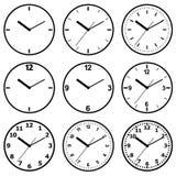 Plan symbol för klocka Stopwatch som jordjordklotet på en vitbakgrund Arkivbild