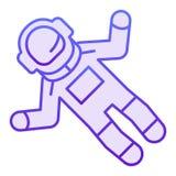 Plan symbol för kosmonaut Violetta symboler för astronaut i moderiktig plan stil Design för astronautlutningstil som planläggs fö royaltyfri illustrationer