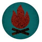Plan symbol för lägereld Royaltyfri Illustrationer