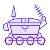 Plan symbol för månerover Violetta symboler för astronomi i moderiktig plan stil Design för stil för lutning för utrymmemedel som royaltyfri illustrationer