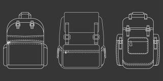 Plan symbol för monokrom fotvandrare royaltyfri illustrationer