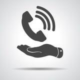 Plan symbol för mottagare för telefon för handvisningsvart vektor illustrationer