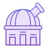 Plan symbol för observatorium Violetta symboler för teleskop i moderiktig plan stil Design för astronomilutningstil som planläggs vektor illustrationer