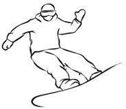 Plan symbol för svart Snowboarder på vit bakgrund stock illustrationer