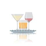 Plan symbol för vektor av alkoholexponeringsglas Royaltyfri Fotografi