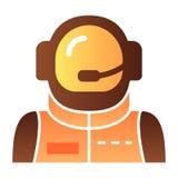 Plan symbol f?r astronautavatar Astronautf?rgsymboler i moderiktig plan stil Design för kosmonautlutningstil som planläggs för re vektor illustrationer