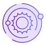 Plan symbol f?r solsystem Violetta symboler f?r kosmos i moderiktig plan stil Design f?r galaxlutningstil som planl?ggs f?r reng? vektor illustrationer
