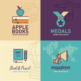 Plan symbols-, äpple- på böcker symbol, medaljsymbols-, bok- och blyertspennasymbol för utbildning, megafonsymbol Fotografering för Bildbyråer