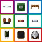 Plan symbolsanordninguppsättning av motstånd, enhet, skärm och andra vektorobjekt Inkluderar också slumpmässigt, spolen, minne Arkivfoton