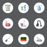 Plan symbolsAqua, viska, skum och andra vektorbeståndsdelar Uppsättningen av hygienlägenhetsymboler som symboler inkluderar också Royaltyfri Bild
