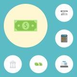 Plan symbolsbank, kontant bunt, redovisning och andra vektorbeståndsdelar Uppsättningen av symboler för finanslägenhetsymboler in Arkivfoton