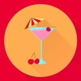 Plan symbolscoctail för vektor med körsbäret och paraplyet, exponeringsglas, rosa färger, Royaltyfri Bild