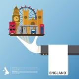 Plan symbolsdesign av Förenade kungariket gränsmärken Infographic globalt lopp Arkivbild