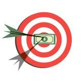 Plan symbolsdesign för mål Syfte med pengar Arkivfoton