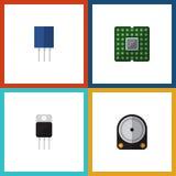 Plan symbolselektronikuppsättning av mottagare, uttag, enhet och andra vektorobjekt Inkluderar också centralen, transistor Royaltyfri Bild