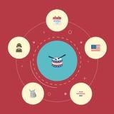 Plan symbolsidentitet, amerikanskt baner, musikinstrument och andra vektorbeståndsdelar Uppsättning av symboler för minnesmärkelä Royaltyfri Bild
