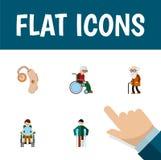 Plan symbolskrymplinguppsättning av rullstolen, Audiology, rörelsehindrade Person And Other Vector Objects Inkluderar också rulls royaltyfri illustrationer