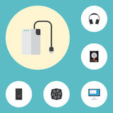 Plan symbolslagringsapparat, hörlurar, systemenhet och andra vektorbeståndsdelar Uppsättning av symboler för bärbar datorlägenhet Royaltyfria Foton