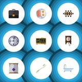 Plan symbolslivsstiluppsättning av klocka, Fried Egg, madrass och andra vektorobjekt Inkluderar också elkraften, klockpendeln, ta Royaltyfri Bild