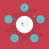 Plan symbolslurendrejeri, spelare Mp3, hörlur och andra vektorbeståndsdelar Uppsättningen av symboler för studiolägenhetsymboler  stock illustrationer