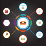 Plan symbolsmaträtt, elektrisk ugn, krydda och andra vektorbeståndsdelar Uppsättningen av symboler för köklägenhetsymboler inklud Royaltyfria Bilder