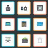Plan symbolsplånbok, redovisning, betala för fjärrkontroll och andra vektorbeståndsdelar Uppsättningen av bankrörelsen sänker sym Arkivfoto