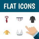 Plan symbolsplagguppsättning av Banyan, Brasserie, underkläder och andra vektorobjekt Inkluderar också underkläderna, slips Royaltyfri Foto