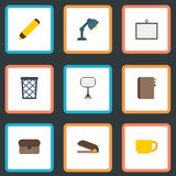 Plan symbolsresväska, Whiteboard, Highlighter och andra vektorbeståndsdelar Uppsättning av symboler för Workspacelägenhetsymboler Royaltyfri Fotografi