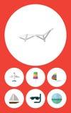 Plan symbolssäsonguppsättning av flygplan, yacht, glasscoupe med garnering och andra vektorobjekt Inkluderar också havet, skyttel royaltyfri illustrationer