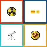 Plan symbolsstudieuppsättning av räckvidd, fara, kemikalie och andra vektorobjekt Inkluderar också molekylen, risken, utstrålning stock illustrationer