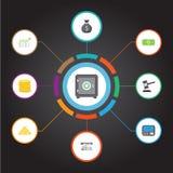 Plan symbolstacka, kassaskåp, Atm och andra vektorbeståndsdelar Uppsättningen av symboler för finanslägenhetsymboler inkluderar o Arkivfoto