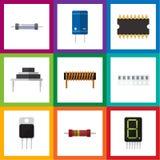Plan symbolsteknologiuppsättning av minne, mikroprocessor, destination och andra vektorobjekt Inkluderar också beräknar Royaltyfri Bild