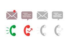 Plan symbolstelefon Symboler för information om kontakt: post, telefon och pratstund Royaltyfria Foton