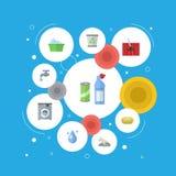 Plan symbolstvätteri, matta som dammsuger, hjälpmedel för rengörande och andra vektorbeståndsdelar Arkivfoto