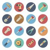 Plan symbolsuppsättning av arbetshjälpmedel Stock Illustrationer