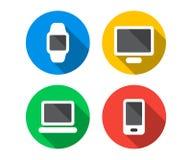 Plan symbolsuppsättning av digitala apparater royaltyfri illustrationer