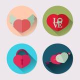 Plan symbolsuppsättning av hjärta Packe för dag för valentin` s Arkivfoton