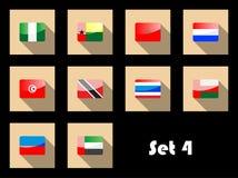 Plan symbolsuppsättning av internationella flaggor Arkivbild